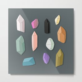 Mineralogy - Stones Chrystals and precious gems Metal Print