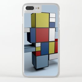 Composition with Red Blue and Yellow Clear iPhone Case