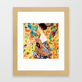Gustav Klimt - Lady with a Fan - Dame mit Fächer - Vienna Secession Painting Framed Art Print