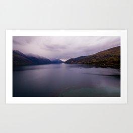 Lake Hawea lake wakatipo blue crystal clear panorama Art Print