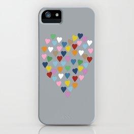 Hearts Heart Multi Grey iPhone Case