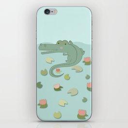 Crocodile and water lillies iPhone Skin