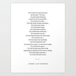 Jorge Luis Borges Quote 05 - Typewriter Quote - Minimal, Modern, Classy, Sophisticated Art Prints Art Print
