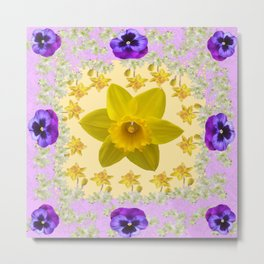PURPLE PANSIES & DAFFODILS FLOWERS GARDEN MODERN ART Metal Print