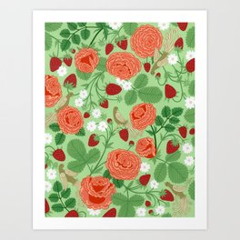 Roses and strawberries on green Art Print