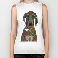 great dane Biker Tanks featuring Great Dane love white by Sharon Turner