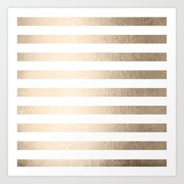 Simply Striped in White Gold Sands Art Print