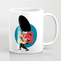 saxophone Mugs featuring Soldier playing the saxophone by drawgood
