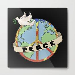World Peace, Dove, Peace Sign, Earth Metal Print