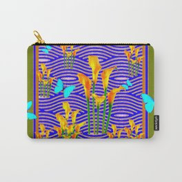 Moss Green Blue-Gold  Butterfly Floral Art Carry-All Pouch