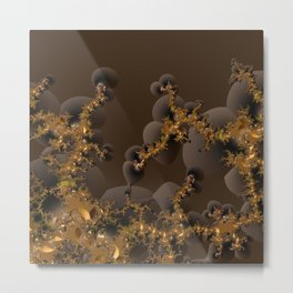 Organic Explosion of Chocolates - Fractal Golden Lava Metal Print