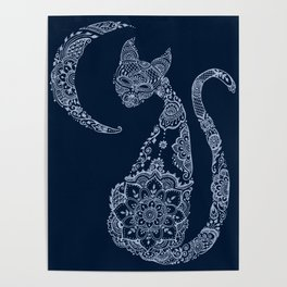 Cat and Moon  - Silver Poster