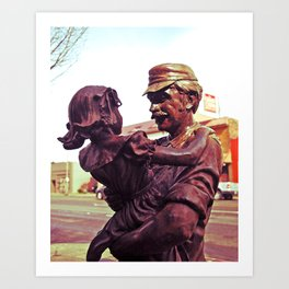 Daughter greets father Art Print