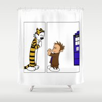 hobbes Shower Curtains featuring The Doctor Says Goodbye - Separated  by DavinciSMURF
