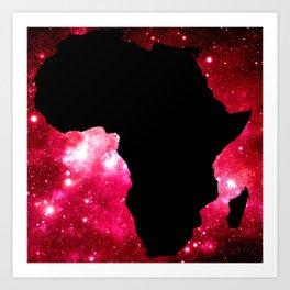 Galaxy Africa Red Art Print