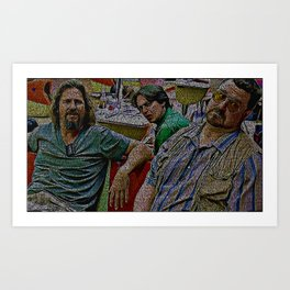 Text Portrait of The Dude, Walter and Donny with Full Script of The Big Lebowski Art Print