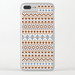 Aztec Essence Pattern II Rust Blue Cream Clear iPhone Case