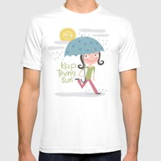 Keep Trying Sun! Mens Fitted Tee White MEDIUM