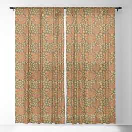 Crazy Daisy Brown and green Sheer Curtain