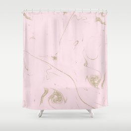 Luxe gold and blush marble image Shower Curtain