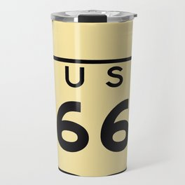Old historic Route 66 sign with the legend US 66. Travel Mug