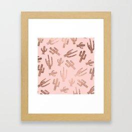 Modern rose gold cactus pattern on blush pink Framed Art Print