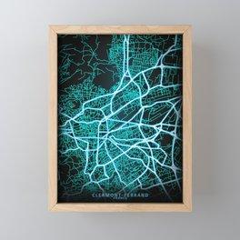Clermont-Ferrand, France, Blue, White, Neon, Glow, City, Map Framed Mini Art Print