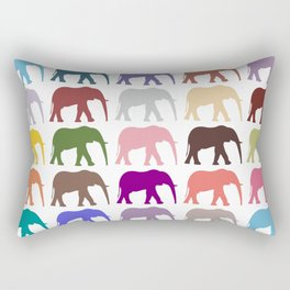Colorful Elephants - Pink Purple Green Blue Rectangular Pillow