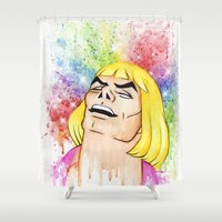 he man Shower Curtains featuring He-Man by Creadoorm