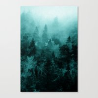 fractal Canvas Prints featuring Fractal Forest by Klara Acel