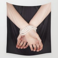 bondage Wall Tapestries featuring Tied with pearls by Maria Heyens