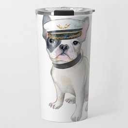 Frenchie French Bulldog COLLAR Captains Hat  Dogs In Clothes Travel Mug