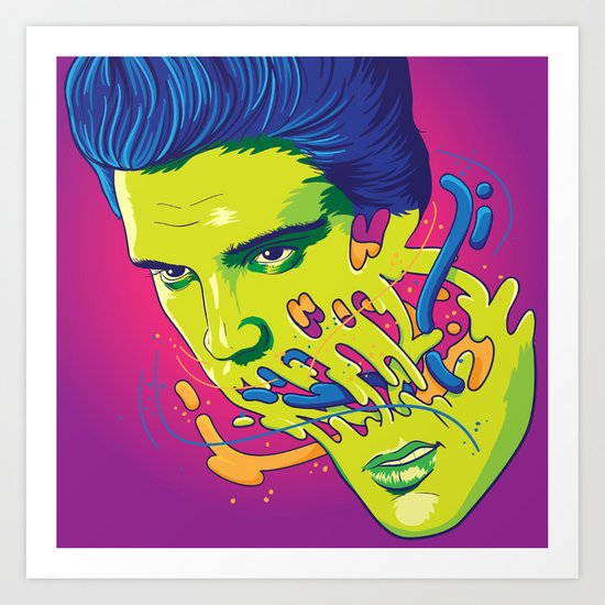 Happily melting Elvis Art Print