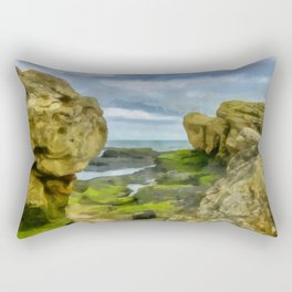 Beautiful rock formations by erosion on the coast of St. Andrews in Scotland Rectangular Pillow