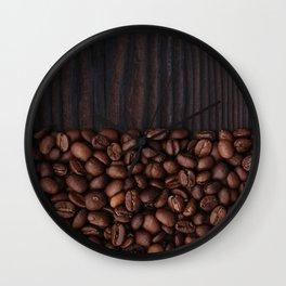 Coffee beans on dark wood background Wall Clock