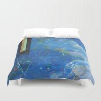 bar Duvet Covers featuring Gold Bar Green Bar by DANiELLE