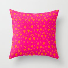 Hot Pink with lots of orange hearts Throw Pillow