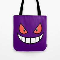 gengar Tote Bags featuring Gengar by Mischievie