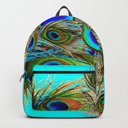 TURQUOISE  BLUE-GREEN PEACOCK EYE  FEATHERS Backpack