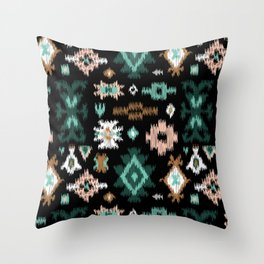 Southwestern Ikat Kilim in Blak Throw Pillow