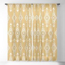 Geometric Art, Aztec Prints, Mustard Yellow and White, Wall Art Boho Sheer Curtain