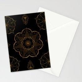 Neutral old gold mandala art floral pattern design Stationery Cards