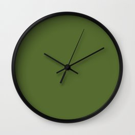 Dark Olive Green - solid color Wall Clock