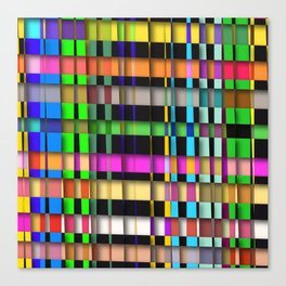 inclined coloured stripes with shadows Canvas Print