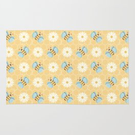 Bumble Bees & Daisies Pattern with Honeycomb Background Rug