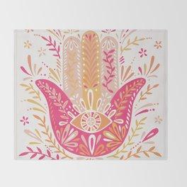 Hamsa Hand – Pink & Peach Palette Throw Blanket