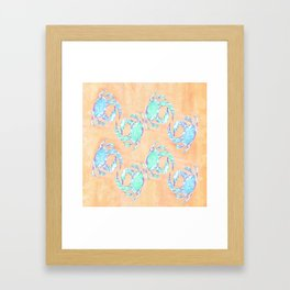 Crab orange blue nautical Framed Art Print