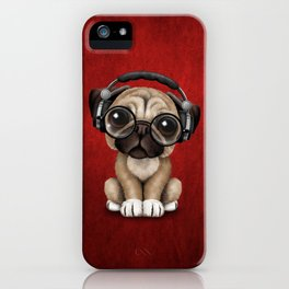 Cute Pug Puppy Dj Wearing Headphones and Glasses on Red iPhone Case
