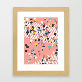 Crossing The Street On a Rainy Day Framed Art Print