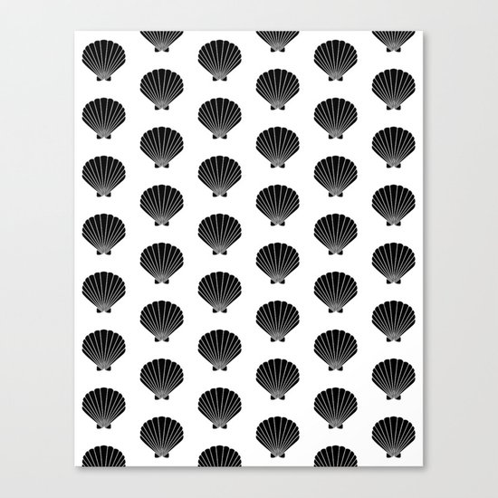 Seashells abstract black and white minimal pattern print painting india ink brushstroke modern art Canvas Print